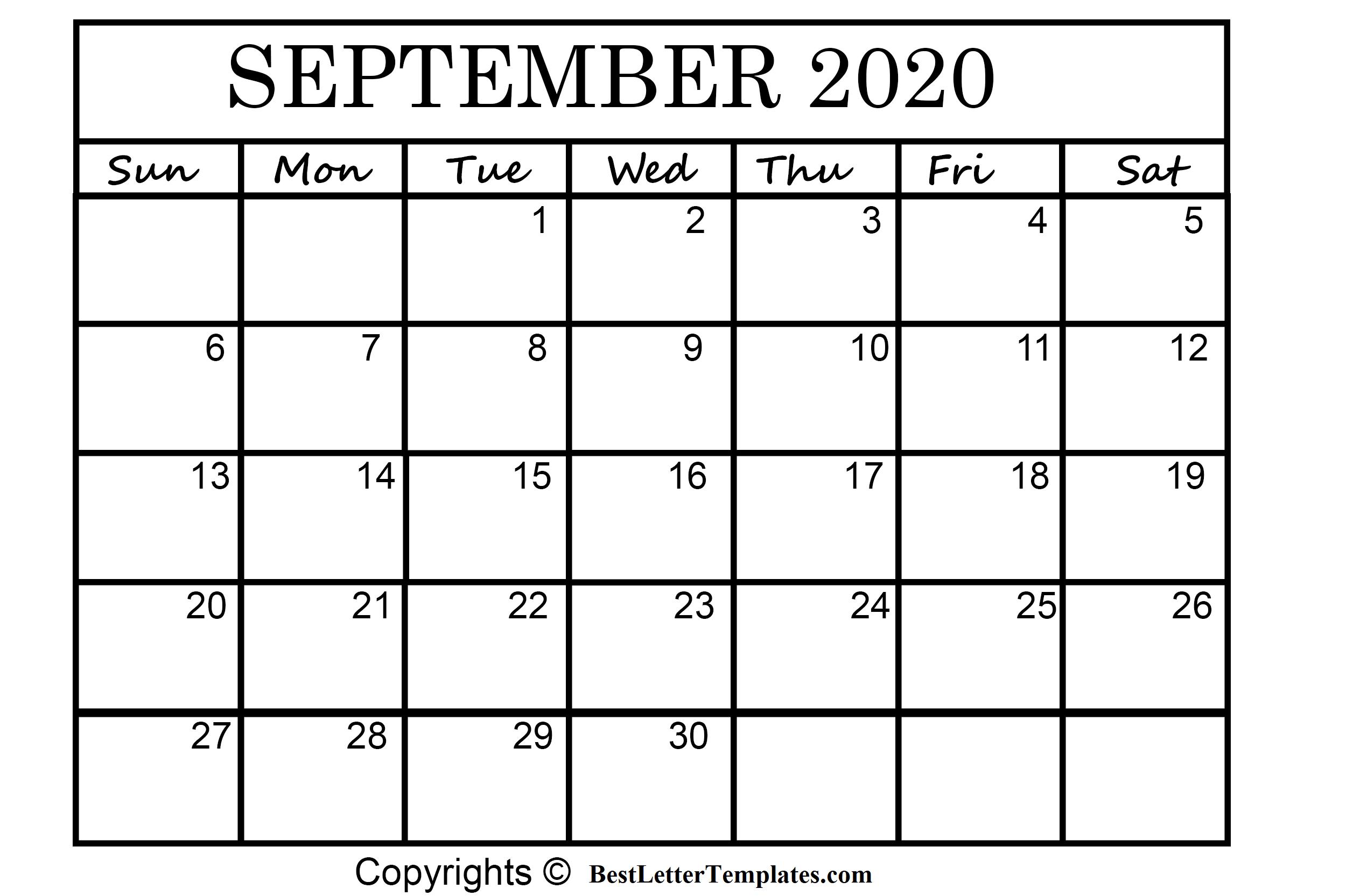 September 2020 Printable Calendar