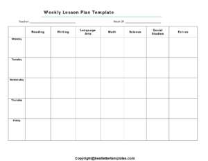 Weekly Lesson Plan Example