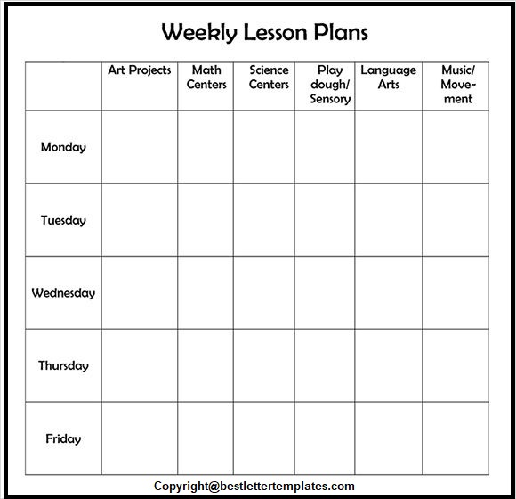 Weekly Lesson Plan Template Docs