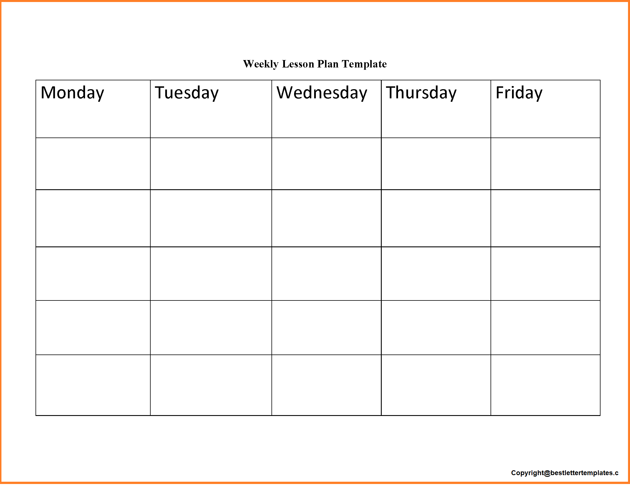 Weekly Lesson Planner Template Doc, PDF, Excel