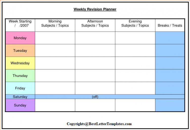 Weekly Planner For Kids PDF