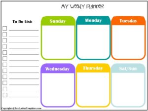 Weekly Planner For Kids Printable
