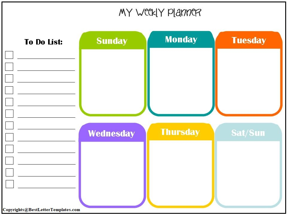 Weekly Planner For Kids Printable