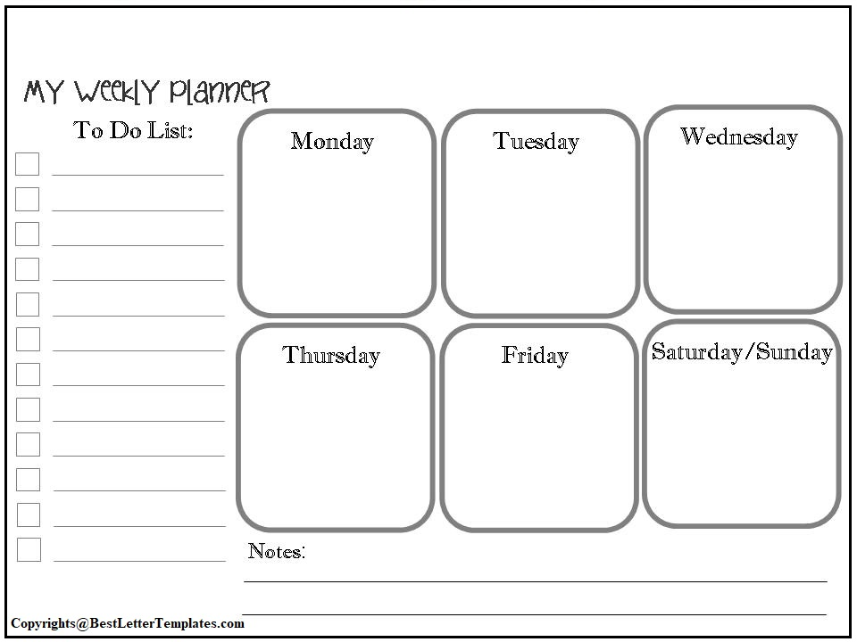 Weekly Planner Template For Kids