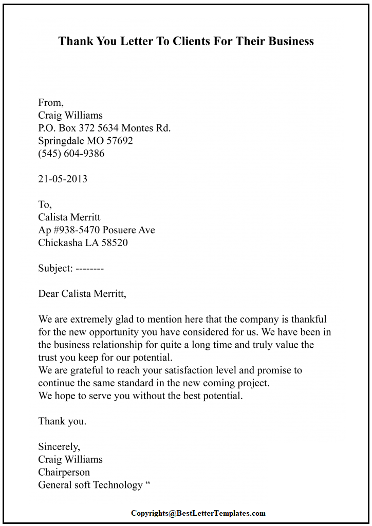 Thank You Letter For Client