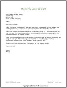 Thank You Letter To Client
