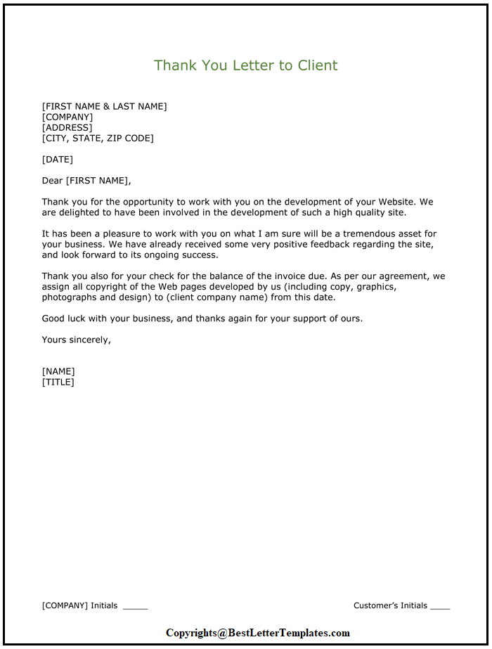 Thank You Letter To Client Template