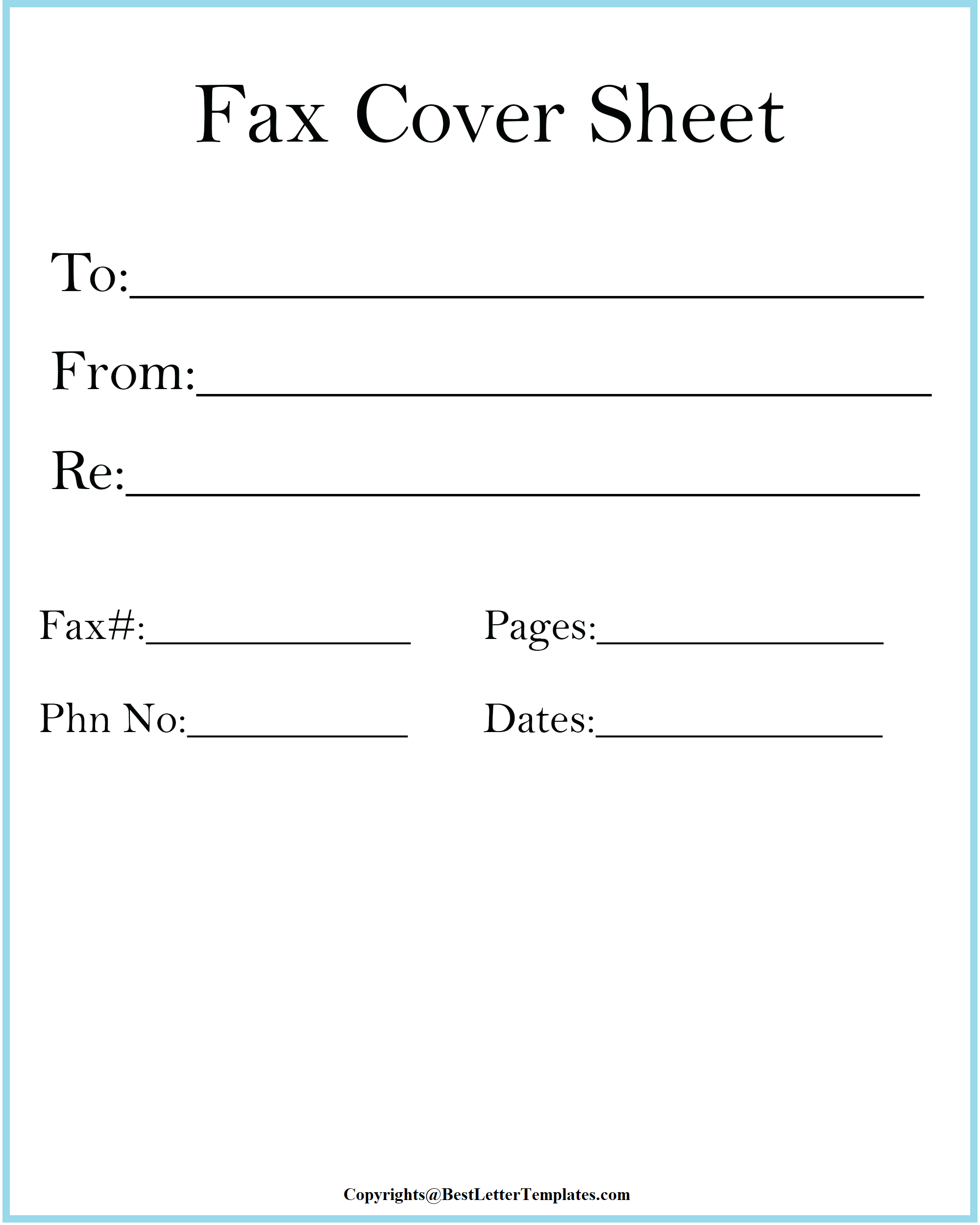 Personal Fax Cover Sheet Download