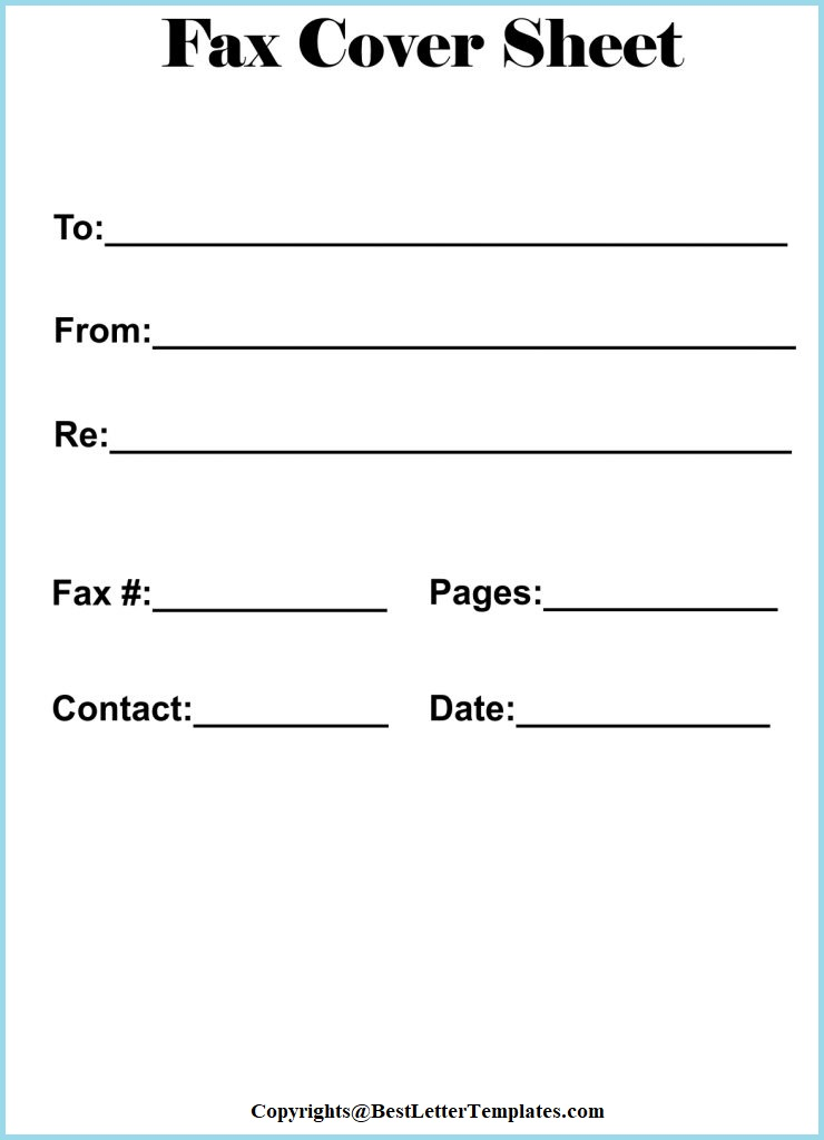 Printable Generic Fax Cover Sheet