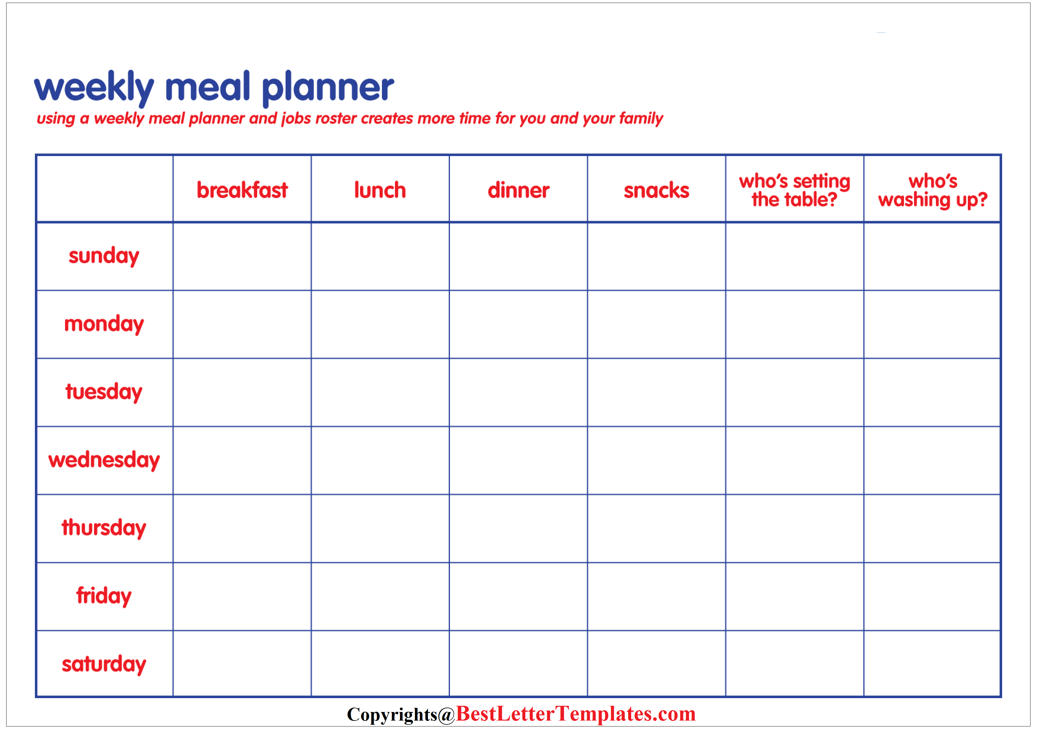 Family Meal Weekly Planner Template