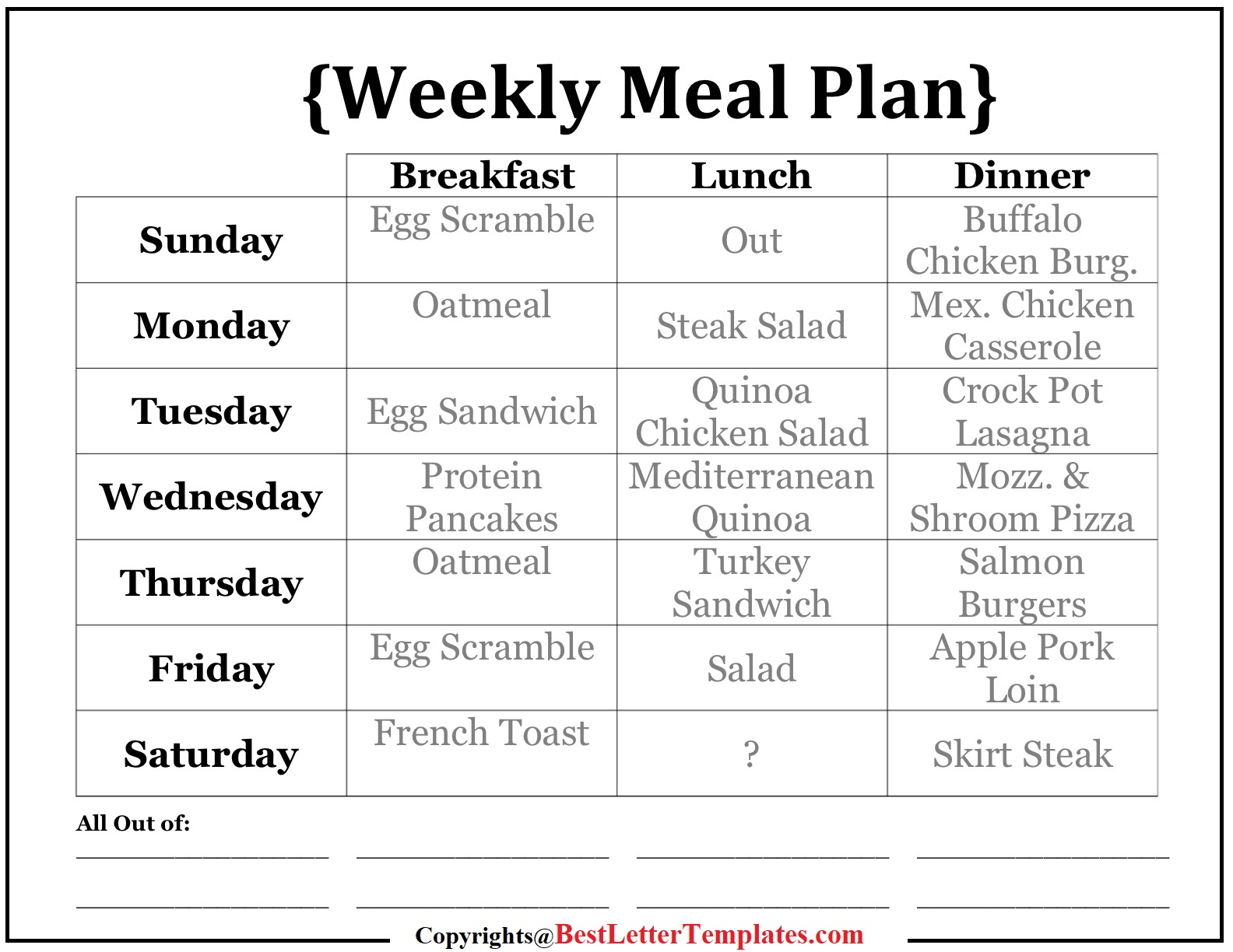 Healthy Weekly Meal Plan For Family