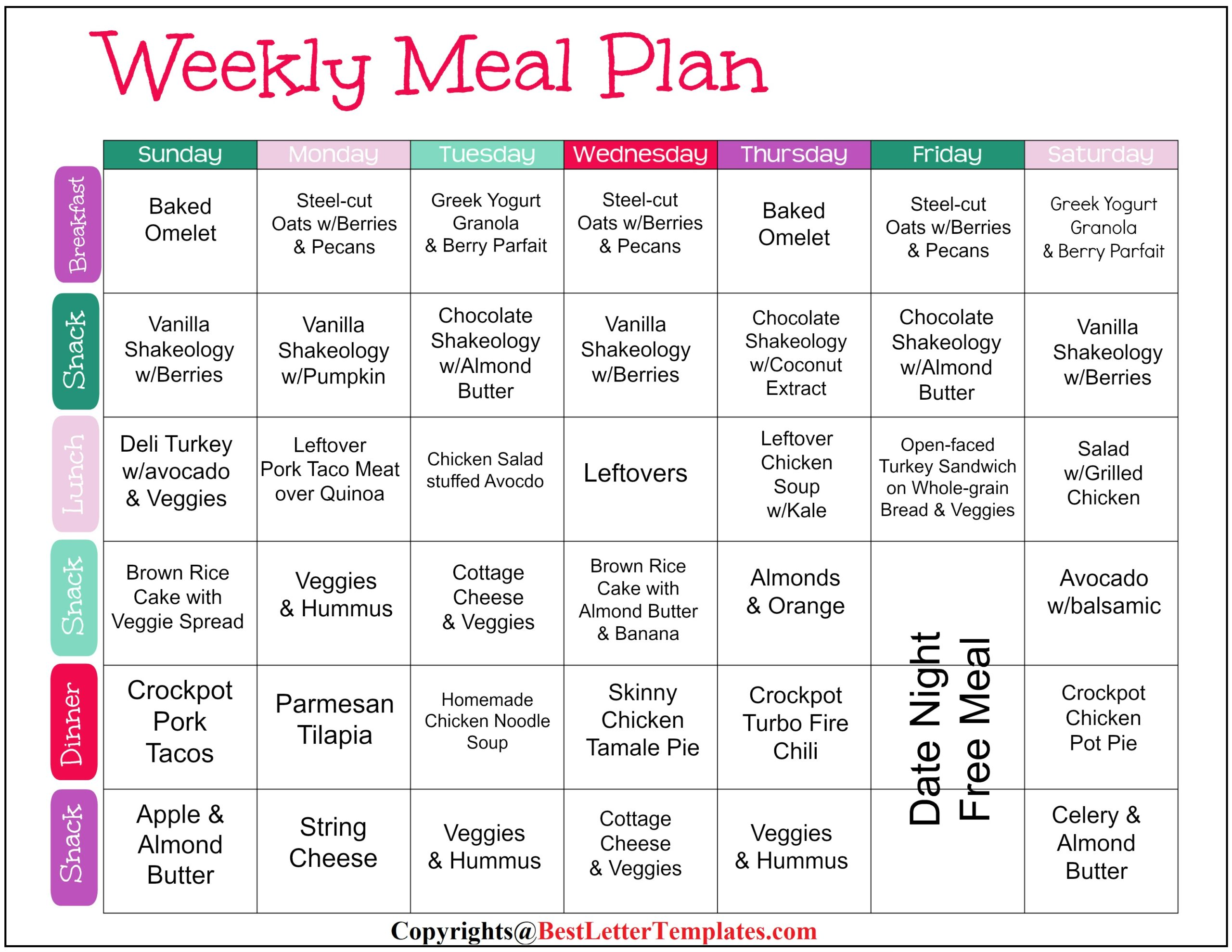 Weekly Meal Planner For Family of 4