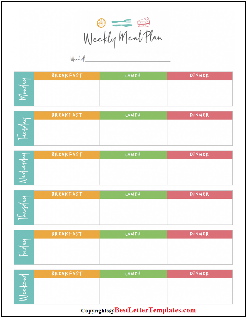 Weekly Meal Planner For Family
