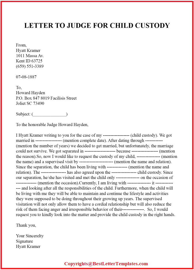 Character Reference Letter For Court Child Custody