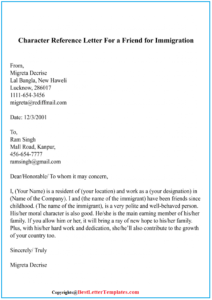Character Reference Letter For a Friend For Immigration