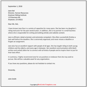 Character Reference Letter Template