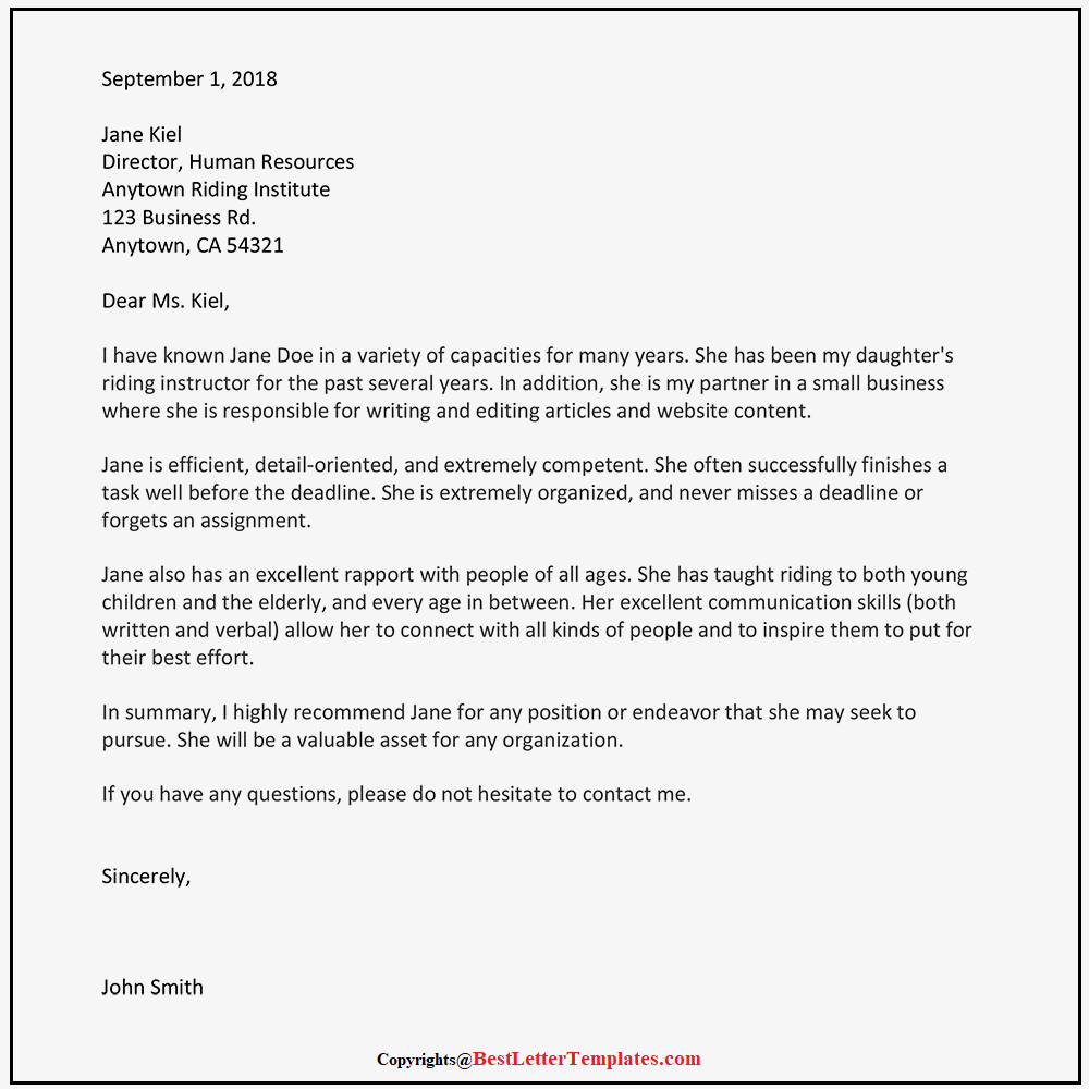 Immigration Recommendation Letter Template from bestlettertemplates.com