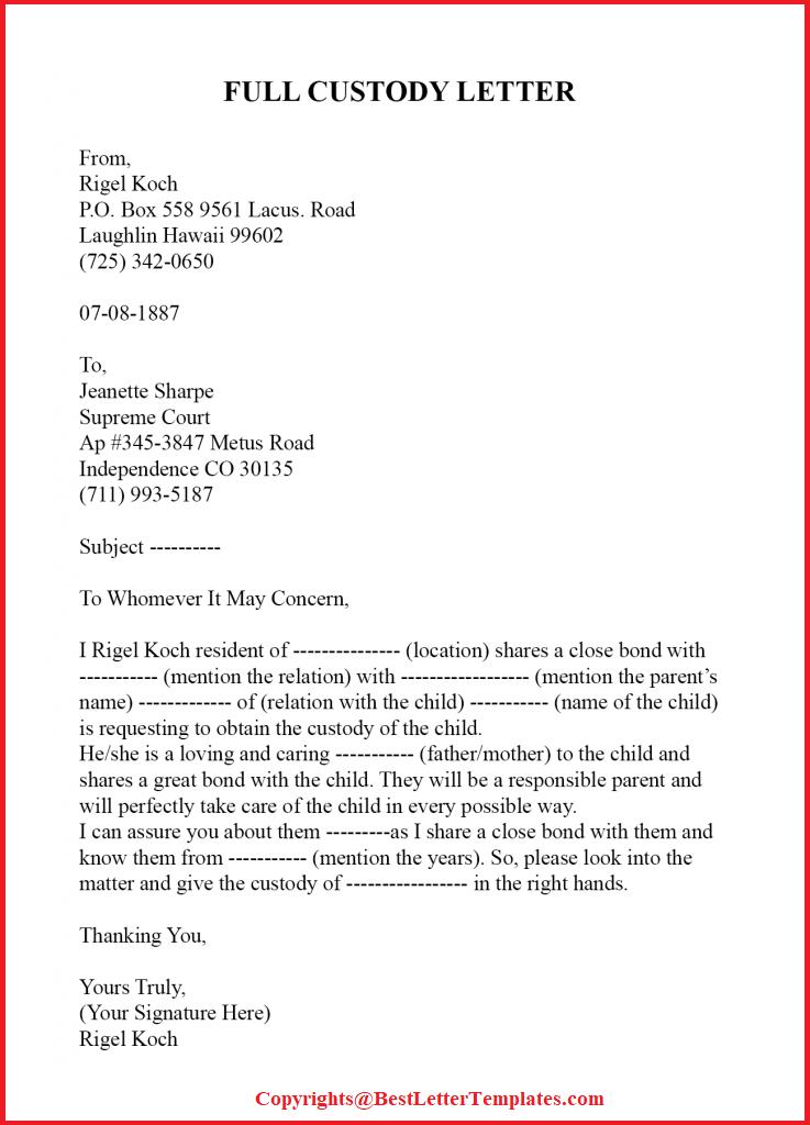 Full Custody Letter