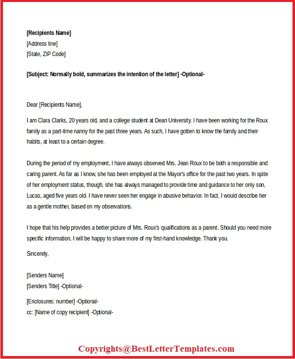 Sample Letter To Judge From Mother from bestlettertemplates.com