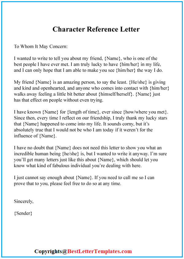 How to Write a Character Reference Letter for a Friend
