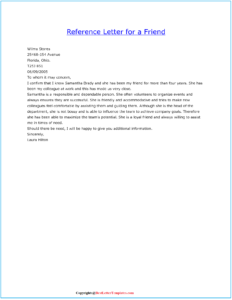 Sample Character Reference Letter Example For a Friend