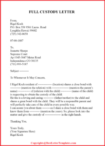Sample Letter To Judge For Child Custody