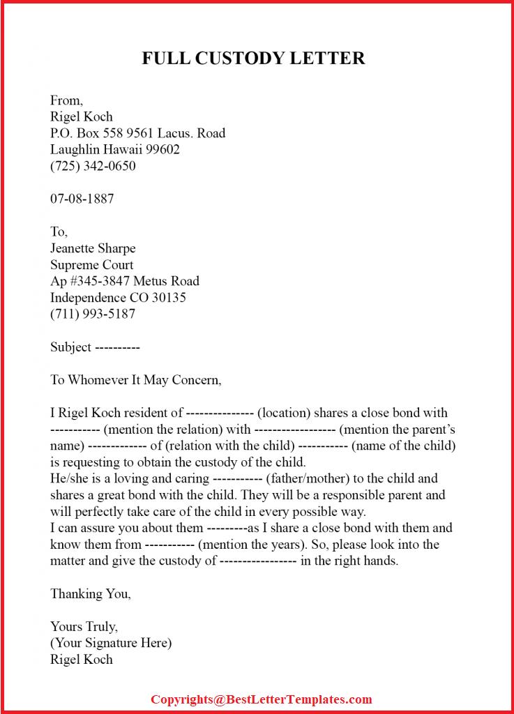 Sample Letter To Judge For Child Custody