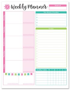 Weekly Planners For Working Moms