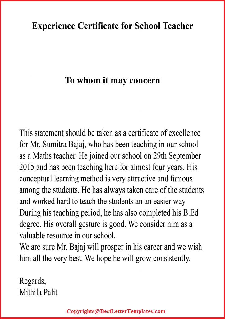 Experience Certificate For School Teacher