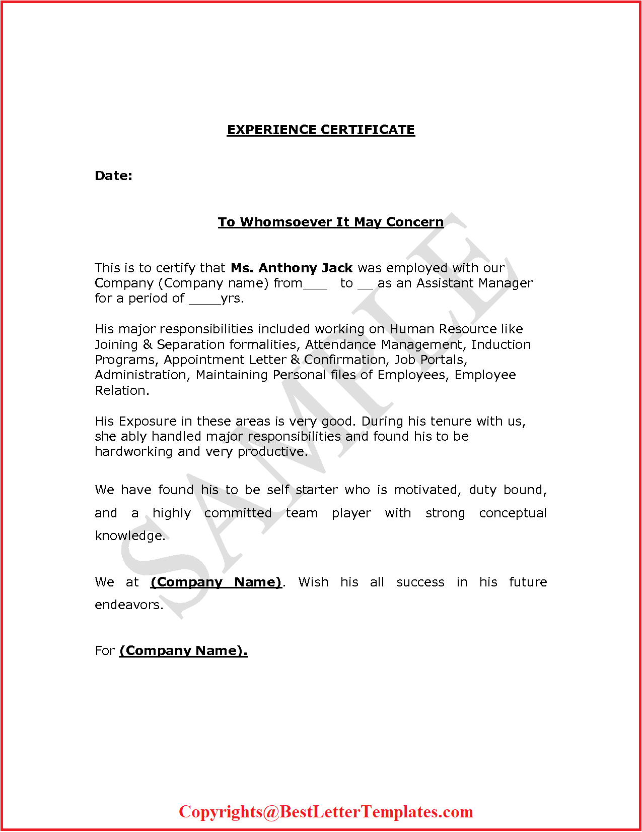 Experience Certificate For Teacher Format