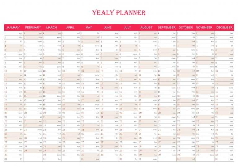 Yearly Planner Chart For Wall