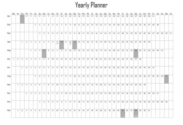 Printable Yearly Planner Excel Template