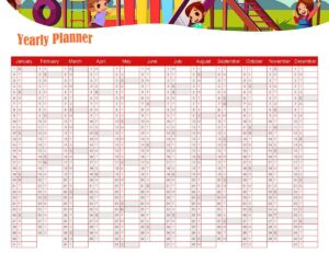 Yearly Planner For Kids