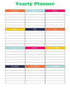 Blank Yearly Planner For Teachers