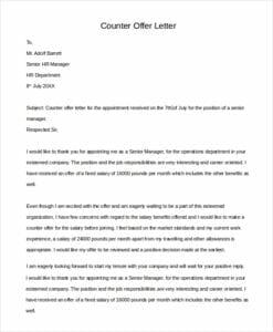 Counter Offer Letter For Salary