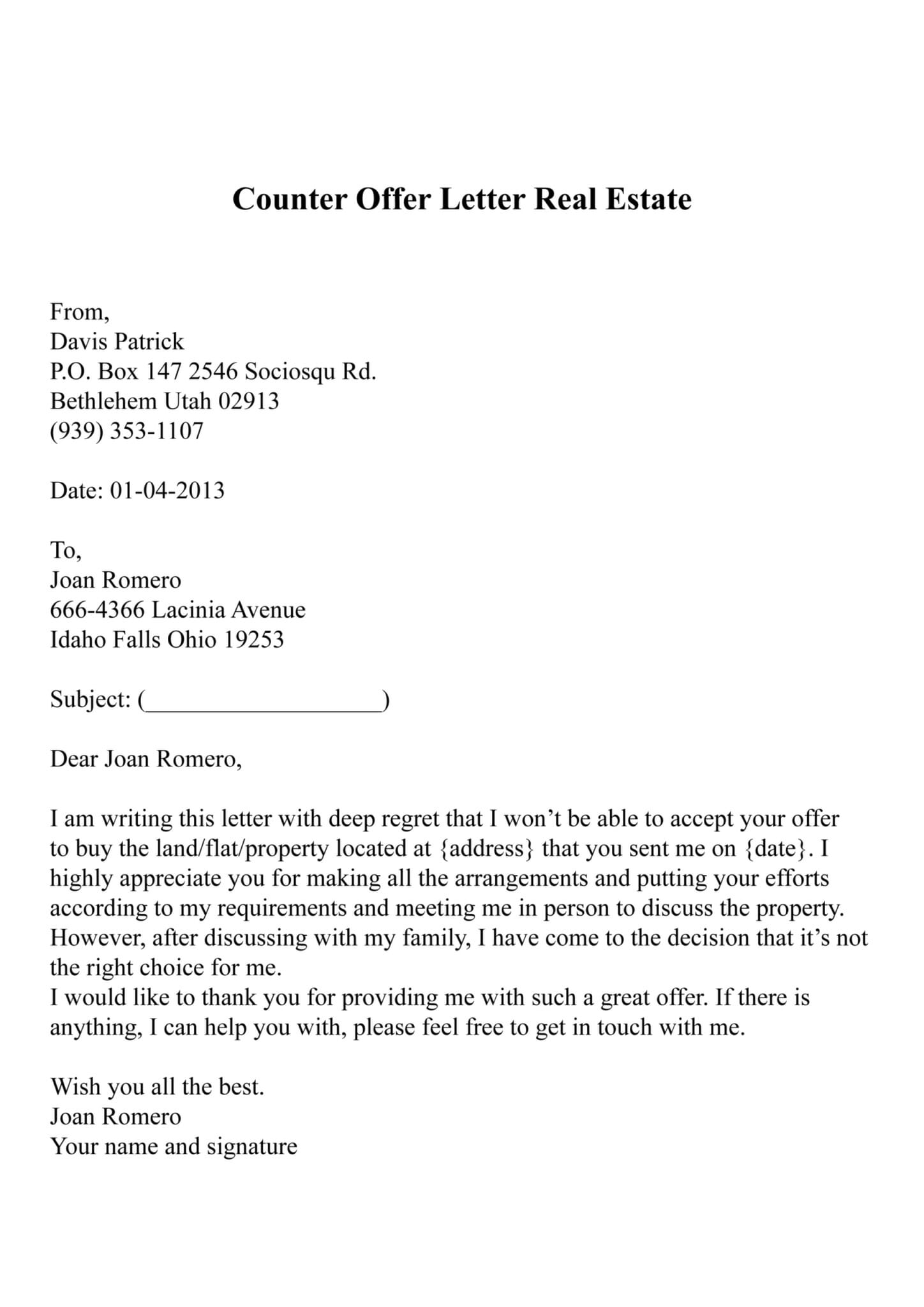 Counter Offer Letter Real Estate