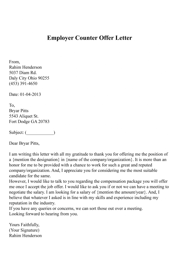 Employer Counter Offer Letter