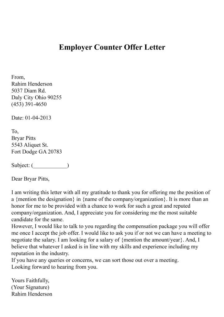 Employer Counter Offer Letter