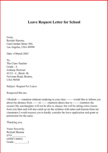 Holiday/Leave Request Letter For School