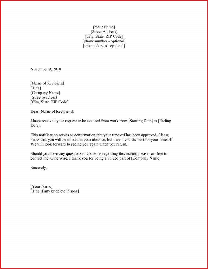 Leave Request Letter Format