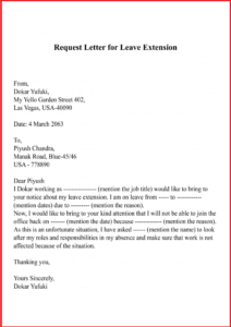 Request Letter For Leave Extension