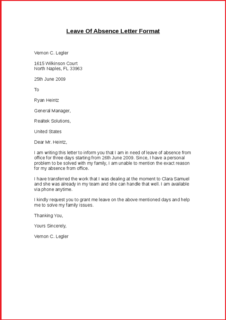 Request Letter For Leave of Absence