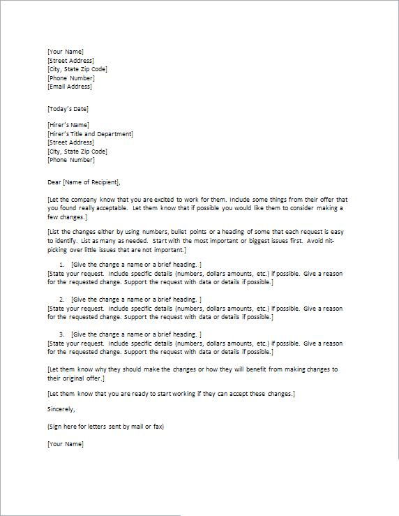 Sample Counter Offer Letter