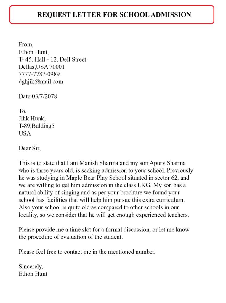 Admission Request Letter Sample