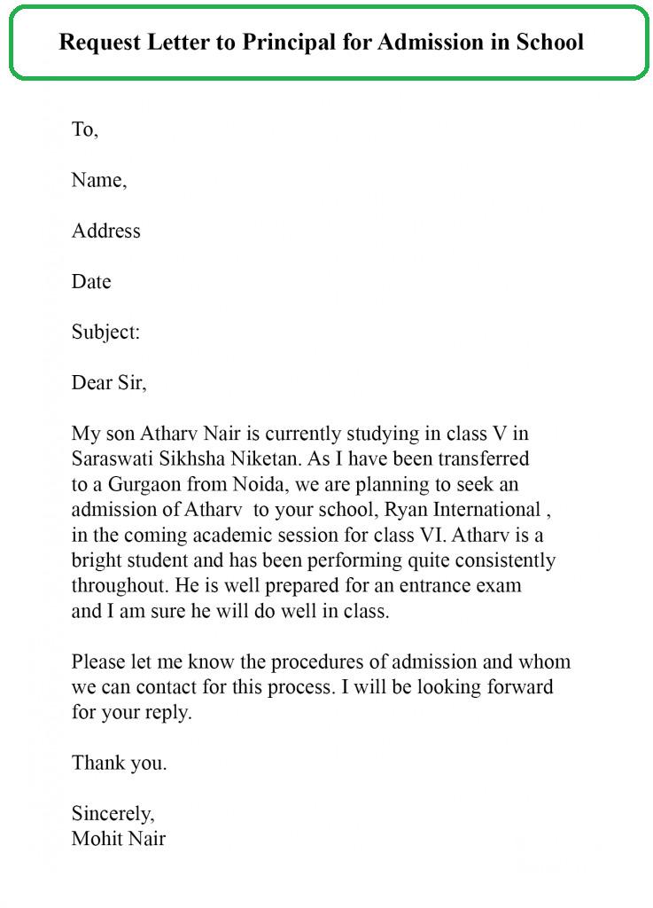 Request Letter For School Admission For LKG