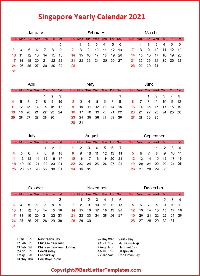 Singapore Yearly Calendar 2021